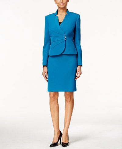 0ac4611f36ebd The crossover styling of the jacket makes this petite skirt suit from Tahari  Asl a perfect pick for the season. | Polyester/spandex; lining; polyester |  Dry ...