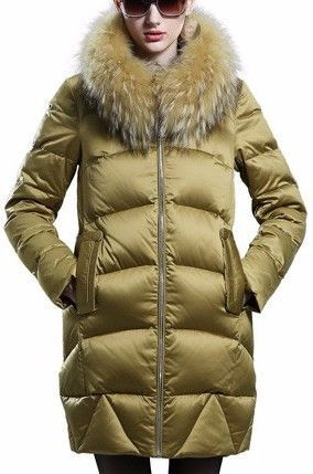 79925456342 Fur Hooded Paneled Puffer Down Coat in Gold or Black
