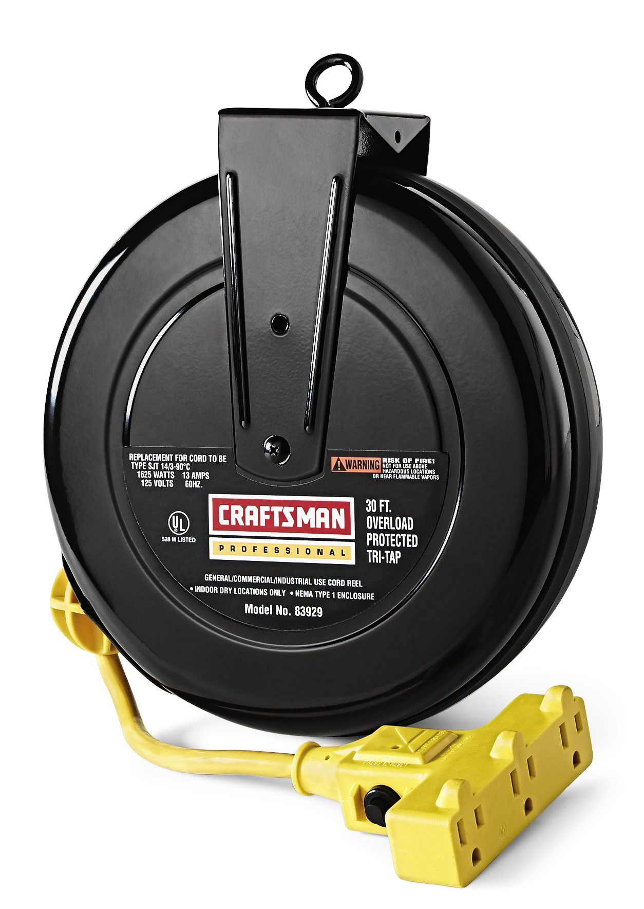 Retractable Electric Heavy Duty Cable With 3-Outlets Extension Cord Reel 30 ft