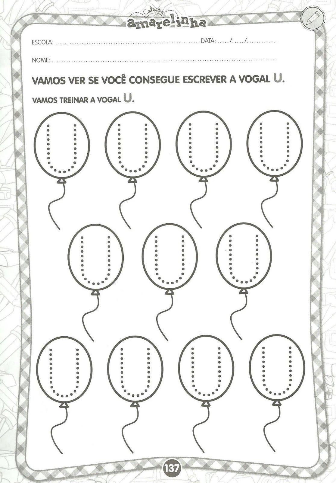 Muito Arte de Educar: Vogais - Educação Infantil | tarefas eliane  SX27
