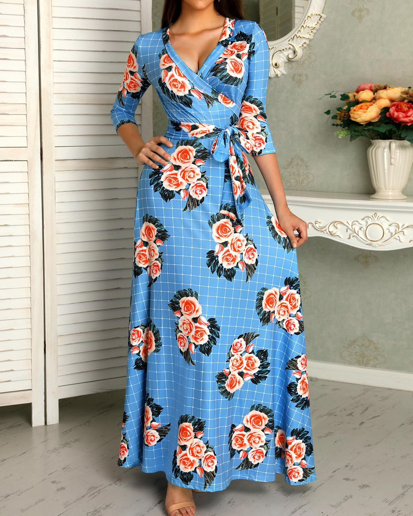 30++ Belted floral print maxi dress ideas
