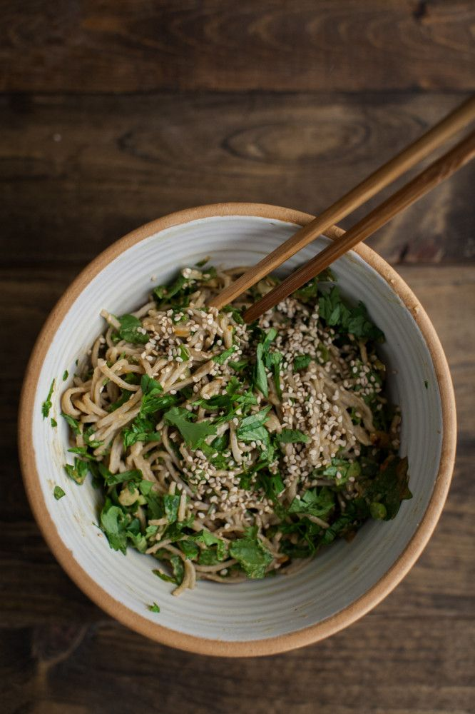 Spinach Soba Noodles With Peanut Sauce