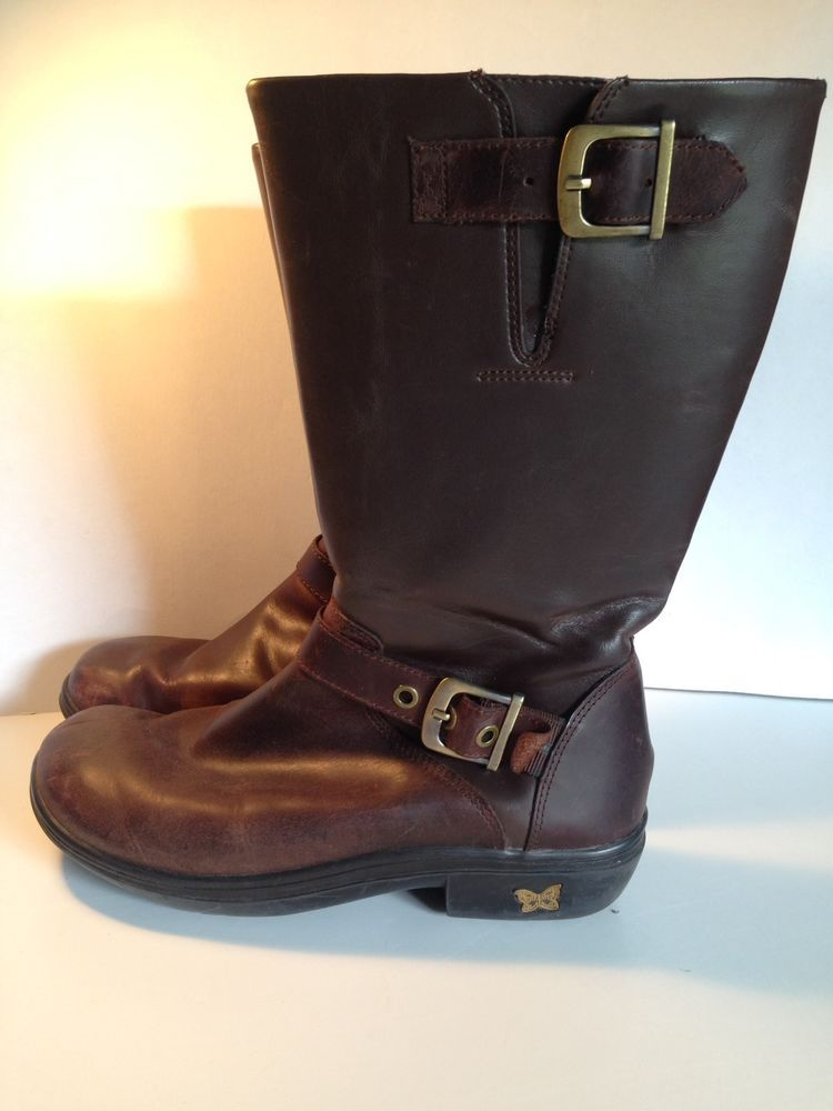 ALEGRIA Size 38/8-8.5 Womens Ava-602 Brown Side Zip Boots
