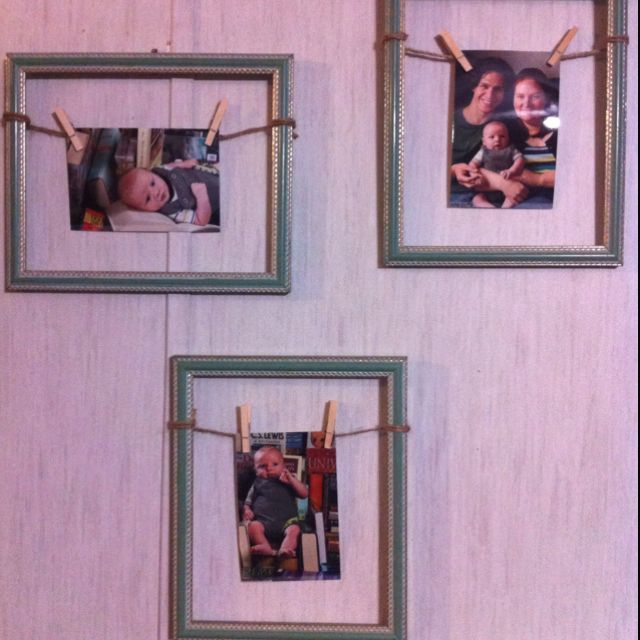 I used empty frames, jute wrapped and tied, and mini clothes pins to hang the pictures. Awesome pictures done by Potts Photography, awesome baby created by me.