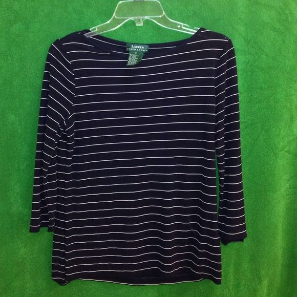 Ralph Lauren 3/4 sleeve shirt Navy and white striped shirt, very slinky feeling material. Small white stain that is barley visable. Great condition and barely worn. Price reflects staining. PayPal Trades Ralph Lauren Tops