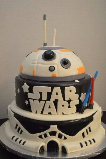 Awe Inspiring Star Wars Stormtrooper And Bb8 Three Tiers Star Wars Birthday Personalised Birthday Cards Vishlily Jamesorg