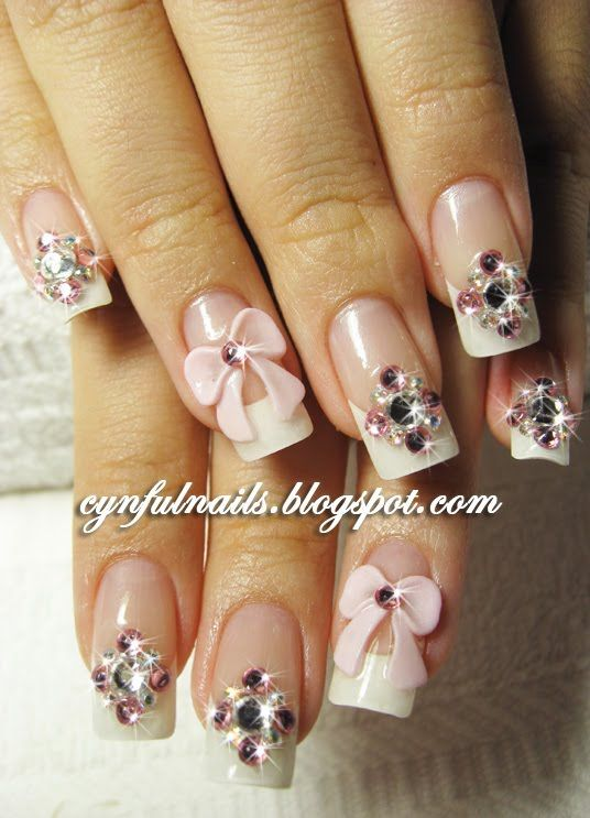 Rhinestones Nail Art Design With Pink 3d Bows Manicura De Unas