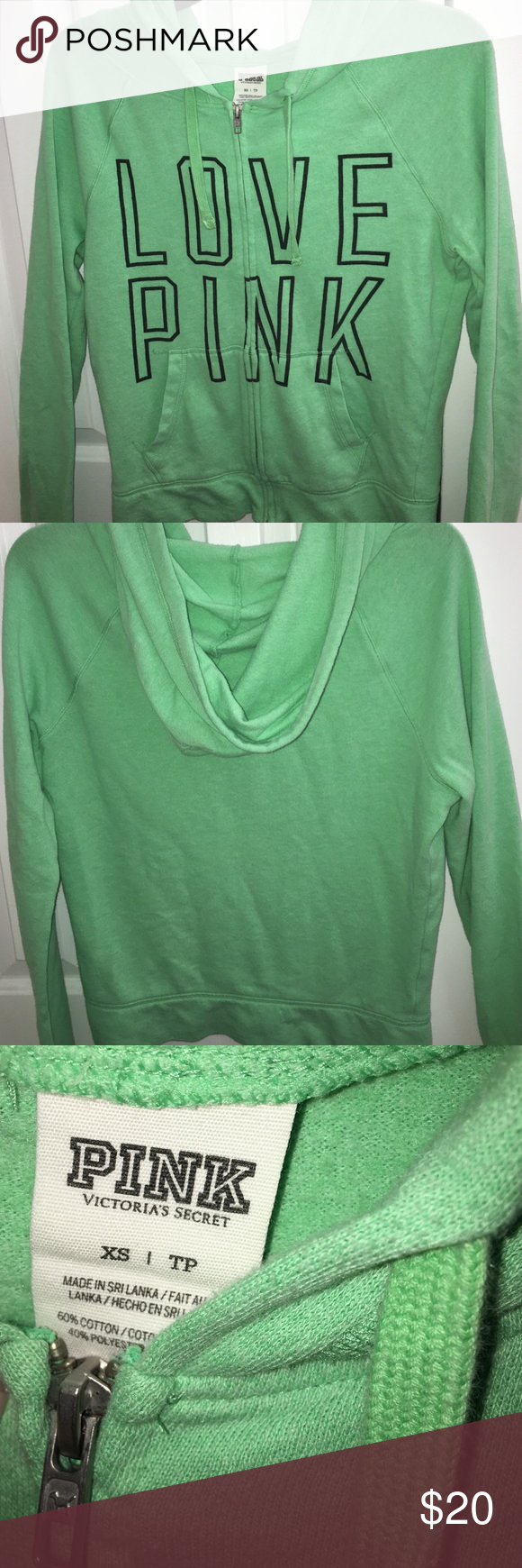 Pink--Victoria Secret--Zip-up hoodie sweatshirt Green zip-up sweatshirt, with hoodie PINK Victoria's Secret Tops Sweatshirts & Hoodies