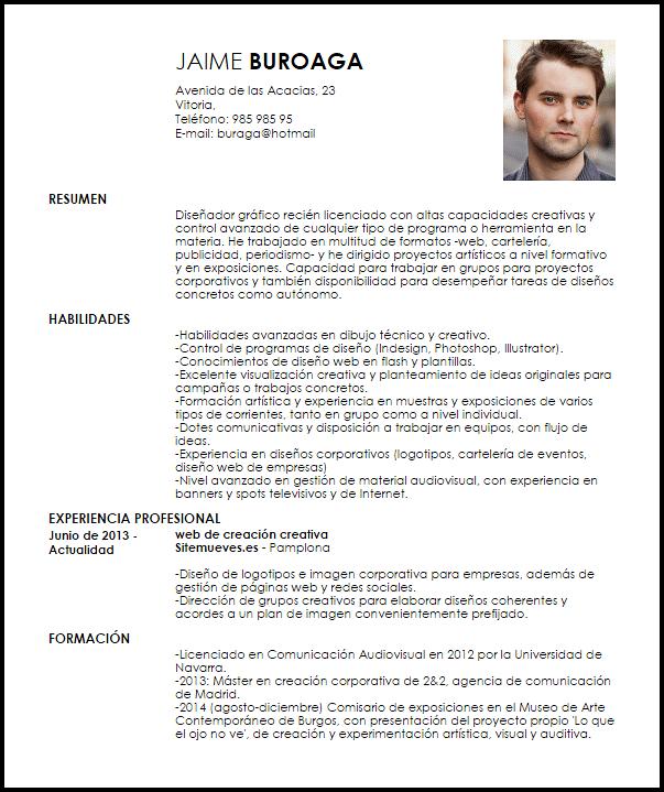 Modelo Curriculum Vitae Diseñador Gráfico