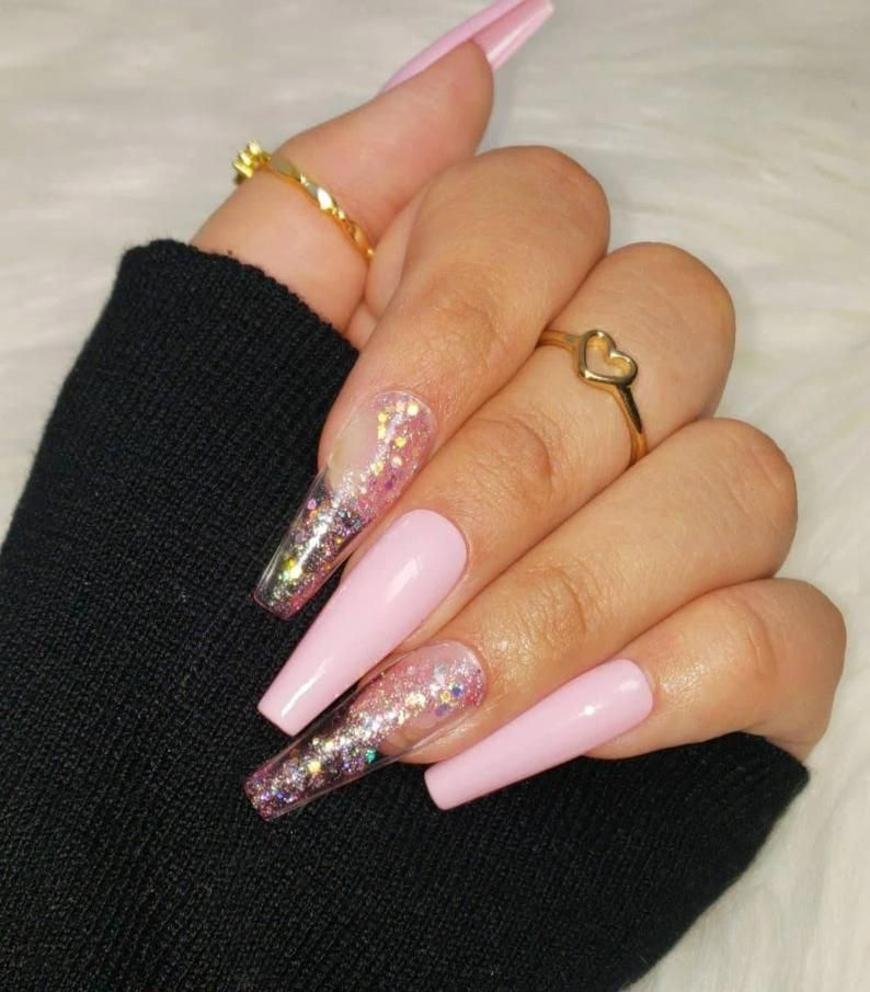 Stay Glistening Set Handmade Salon Quality Gel Press Ons Etsy In 2020 Fake Nails Coffin Nails Designs Glue On Nails