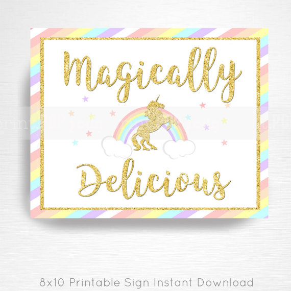 Magically Delicious Unicorn Rainbow Birthday Party Printable Food Bar Sign YOU Print Pastel Pink Gold  INSTANT DOWNLOAD READY UPON COMPLETION OF PURCHASE  Please convo us if youd like to customize the text/graphic!  Our signs are formatted to 8x10 unless otherwise requested. This listing does not include color changes or verbiage tweaks, if youre interested in tweaking the design please convo us before purchase. We can create an entire party to coordinate with this sign, convo us for det...