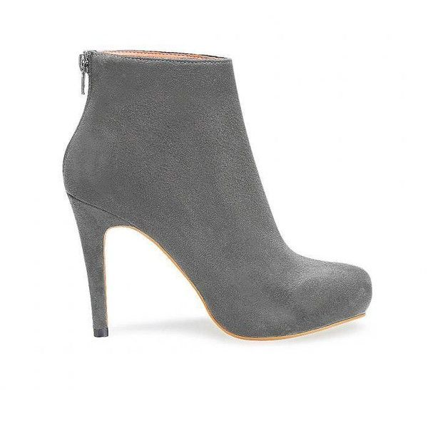 Yoins Suede Heeled Ankle Boots in Grey (€48) ❤ liked on Polyvore featuring shoes, boots, ankle booties, yoins, ankle boots, heels, grey, gray booties, suede boots and heeled ankle boots