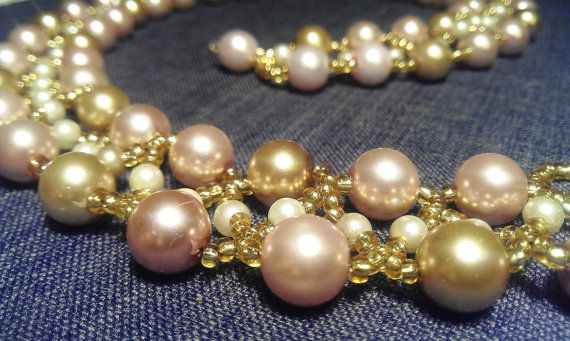 Pink and gold pearl beadwork collar necklace by ElderberryBeads, $30.00