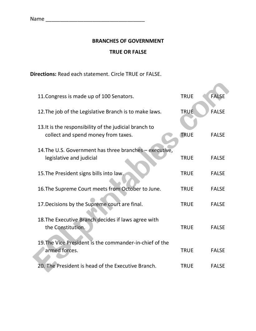 The Judicial Branch Worksheet Branches Of Government Quiz ...