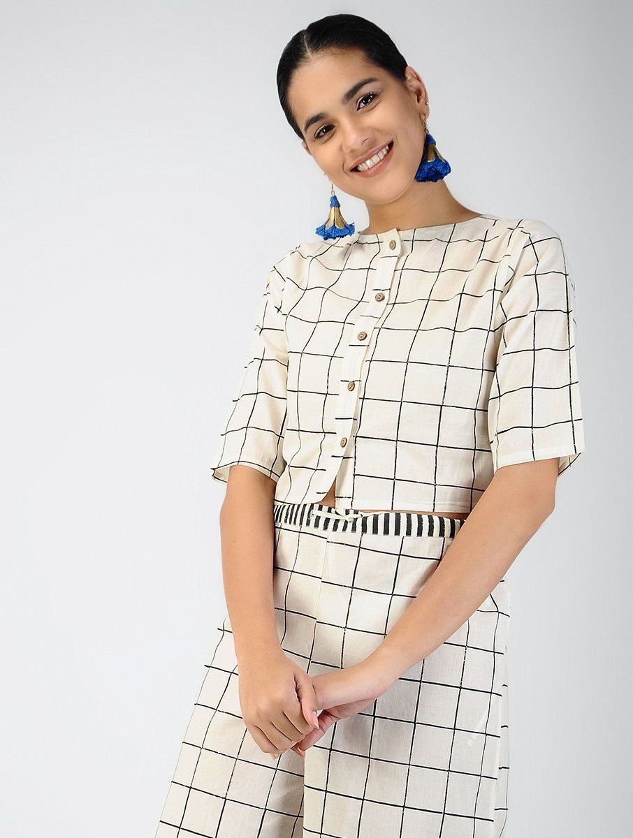 34dee7957d5 Buy Black White Block printed Cotton Crop Top Women Tops A Monochrome Mood  prints in crisp checks and stripes on range of easy styles Online at  Jaypore.com