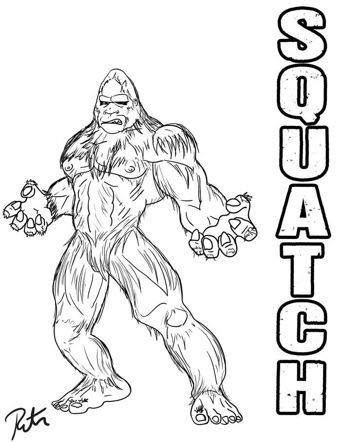 bigfoot coloring pages Finding Bigfoot: Squatch Lineart by Rictor Riolo.deviantart.on  bigfoot coloring pages
