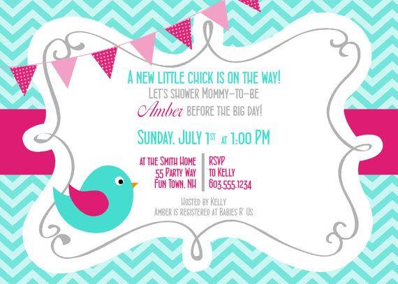 Birds Baby Shower Invitation Girl Pink Turquoise Bird Chevron Baby