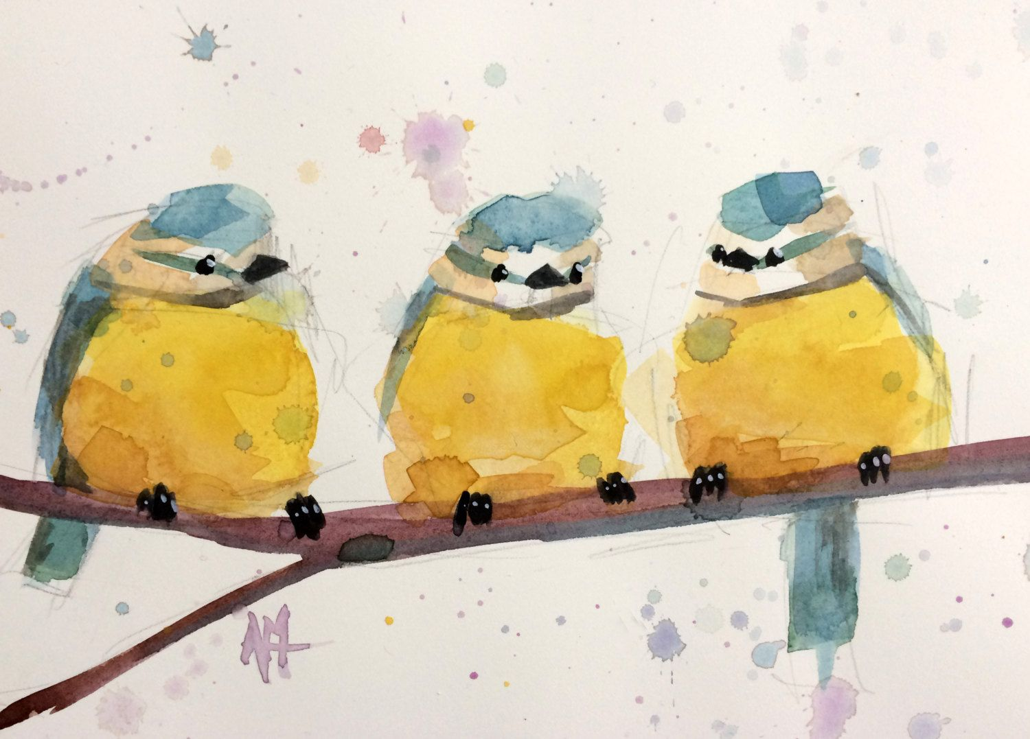 Three Blue Tits no. 4 Original Watercolor Painting by Angela Moulton 8 x 10 inch with 11 x 14 inch White Mat by prattcreekart on Etsy