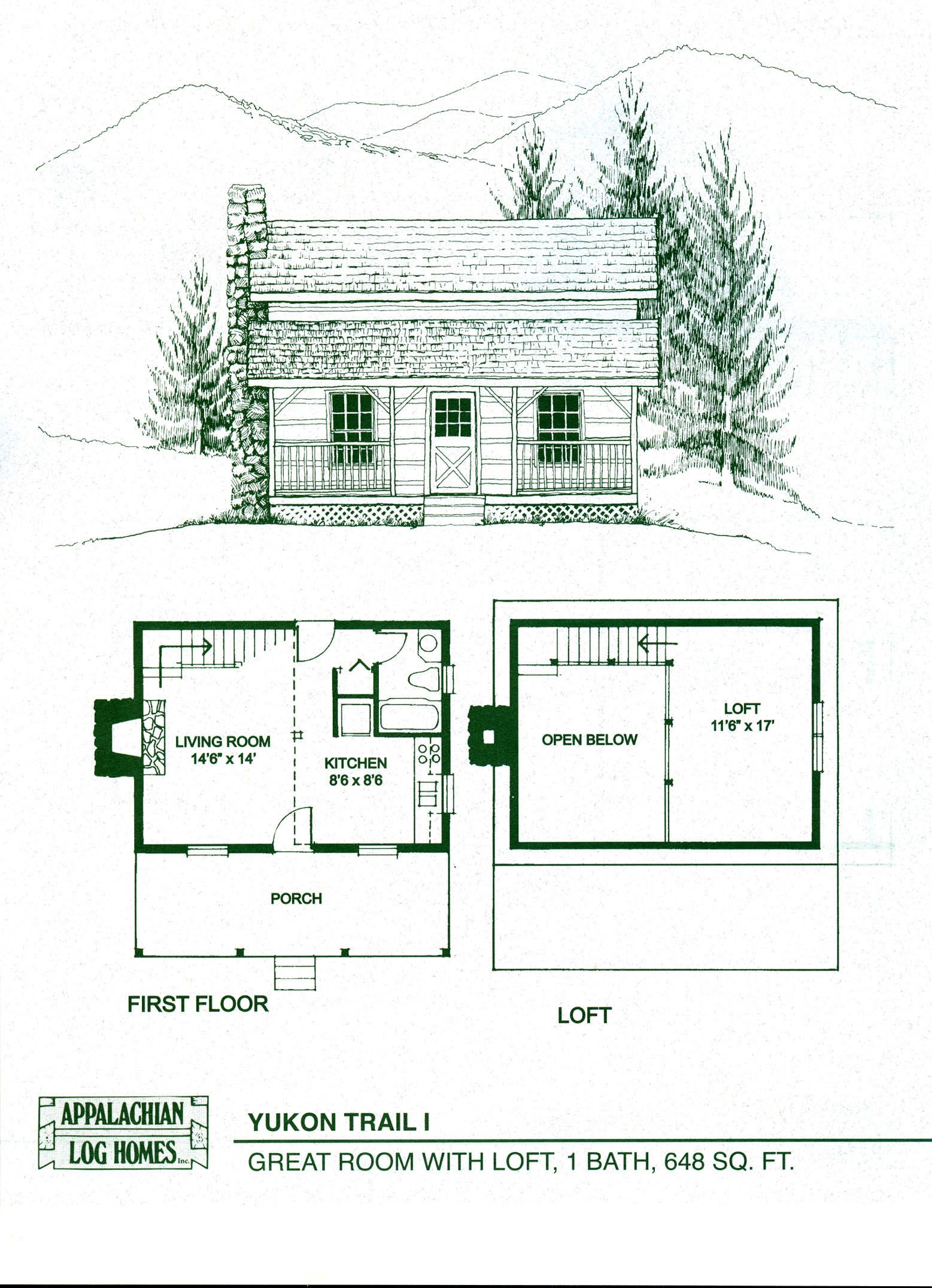 Log home floor plans log cabin kits appalachian log for One room cabin floor plans