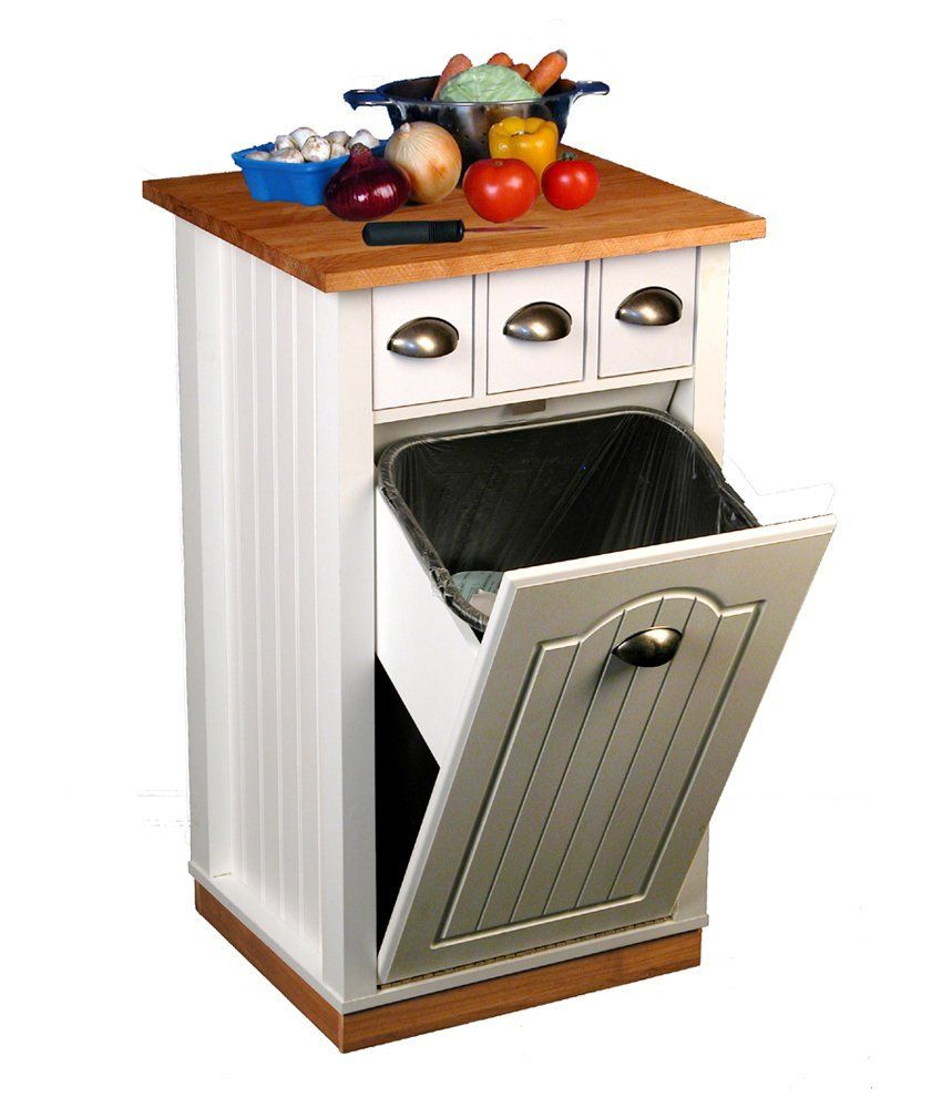 Amazon.com - Venture Horizon 4124-11WH Butcher Block Bin Kitchen ...