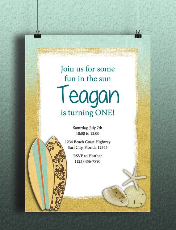 Instant Download-Sandy Beach Surfer DIY Printable Template - download invitation card