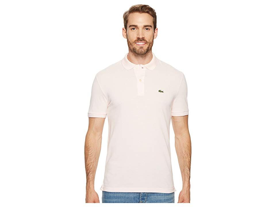 new product a7af3 590ea Lacoste Short Sleeve Slim Fit Pique Polo (Flamingo) Men's ...