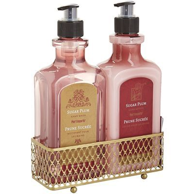 Invigorating hand soap and moisturizing hand lotion, wrapped in a handy caddy and scented with our special Sugar Plum fragrance—a reminiscent holiday blend of rich, dark plum, mingled with mandarin orange and golden amber, then sweetened with black currant, vanilla sugar and sandalwood.