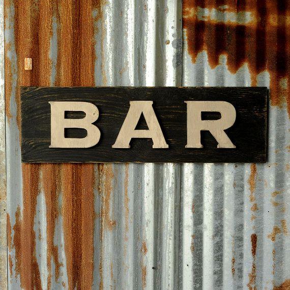 Wedding Bar Sign Rustic Decor Home Vintage Style Open Bar Etsy Vintage Restaurant Bar