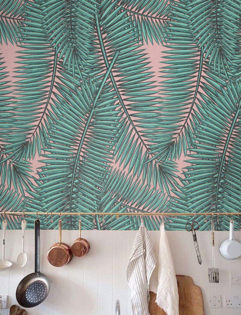 Removable Wallpaper Leaves Wallpaper Self Adhesive Etsy Home Wallpaper Classic Wallpaper Fern Wallpaper