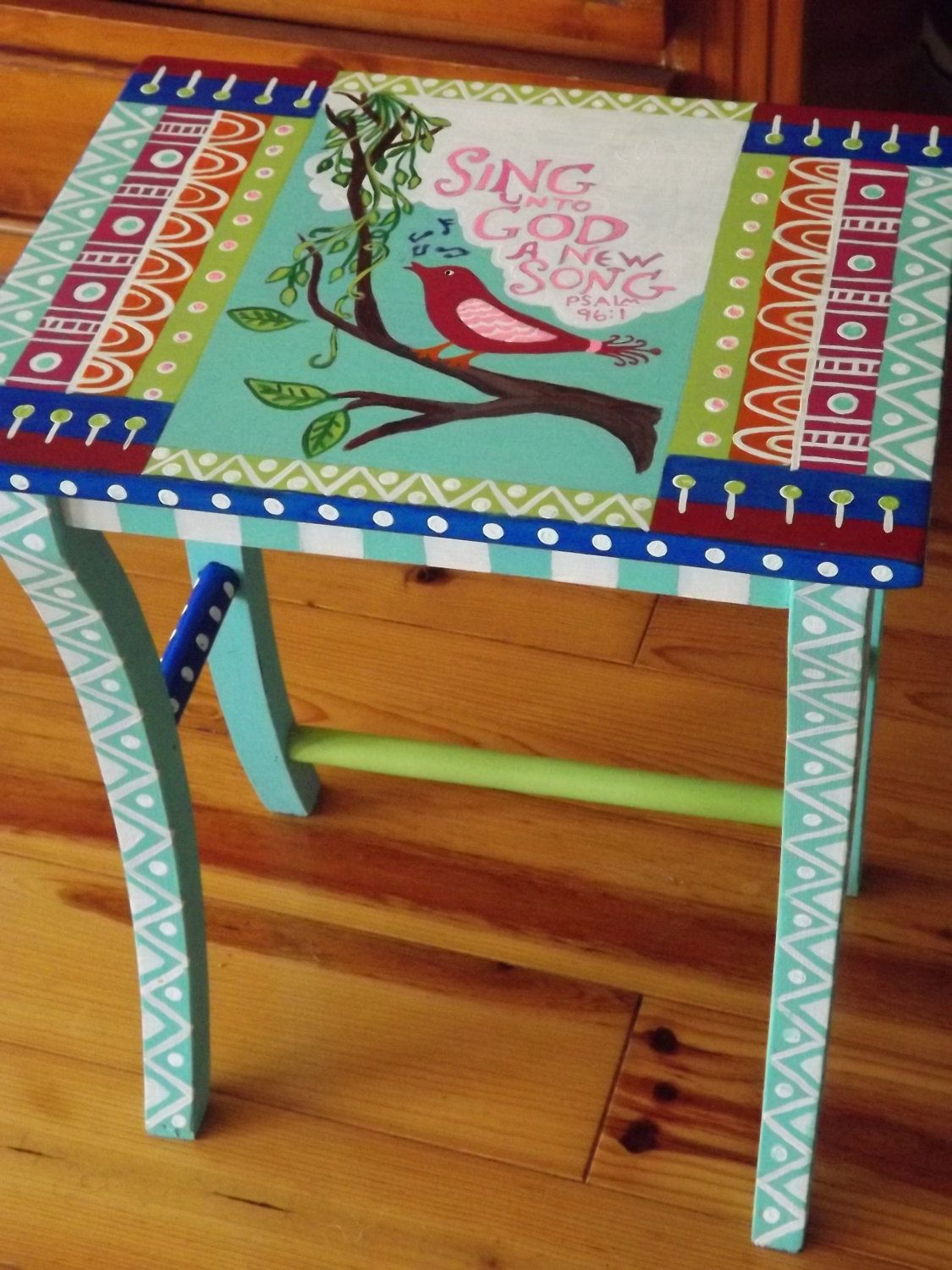 Whimsical furniture folk art table sing unto god bohemian art table by stellavictorias on etsy