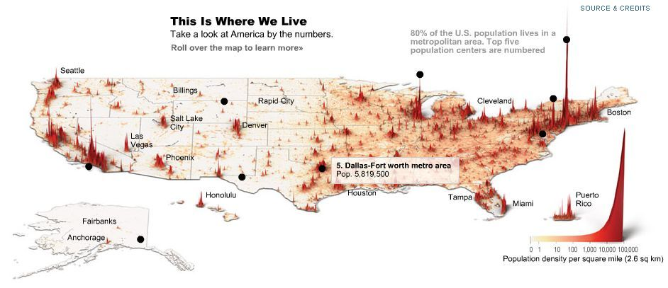Spike Map Of US Population Cartograms Pinterest Public - Us county population map cartogram