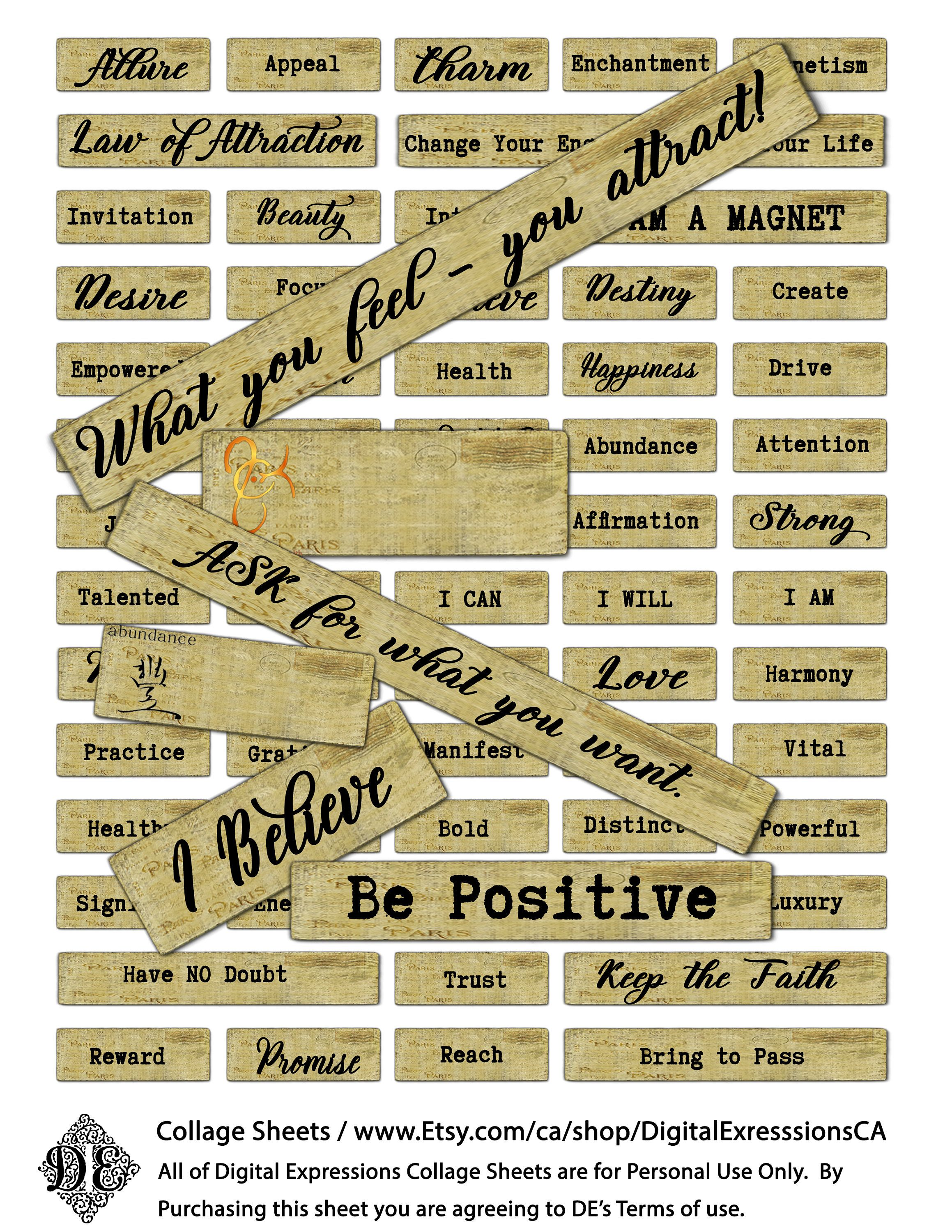 Printable Positive Law Of Attraction Sayings Digital