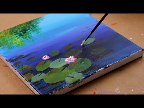 How To Paint Lotus Abstract Painting / Acrylic painting for beginners / Lotus painting / Daily #055 - YouTube