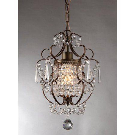 Rosalie 1-light Antique Bronze 11-inch Crystal Chandelier ...