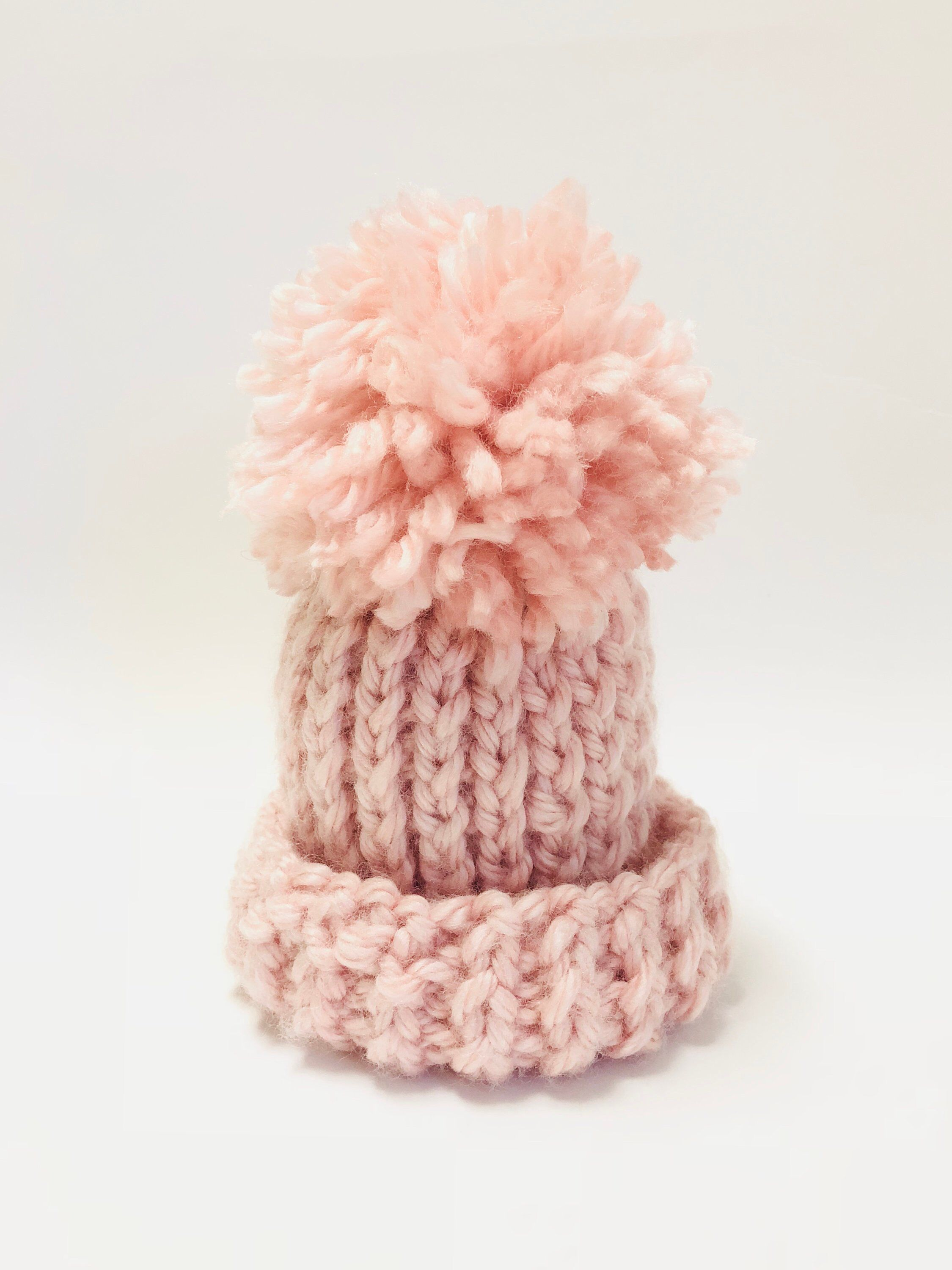 f022a34b94b Excited to share this item from my  etsy shop  Handmade Pink Super Thick  Chunky Vegan Knitted Newborn Infant Child Hat With Pom Pom Custom Unisex
