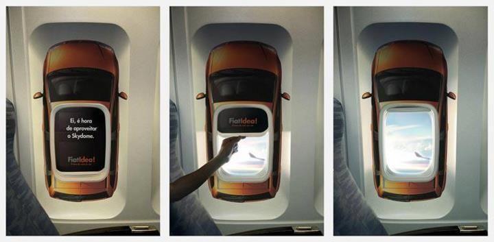 Tudo vira mídia, usando janela de avião para promover novo FIAT Idea com Skydome