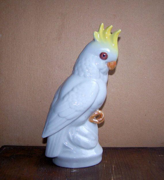 Vintage Ceramic Figurine Parrot Home Decor White Porcelain Bird