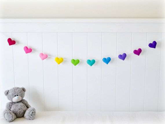Cyber Monday Ready Now Felt Heart Garland Banner Pinks Yellow Blues Purples Bedroom Decor Nursery