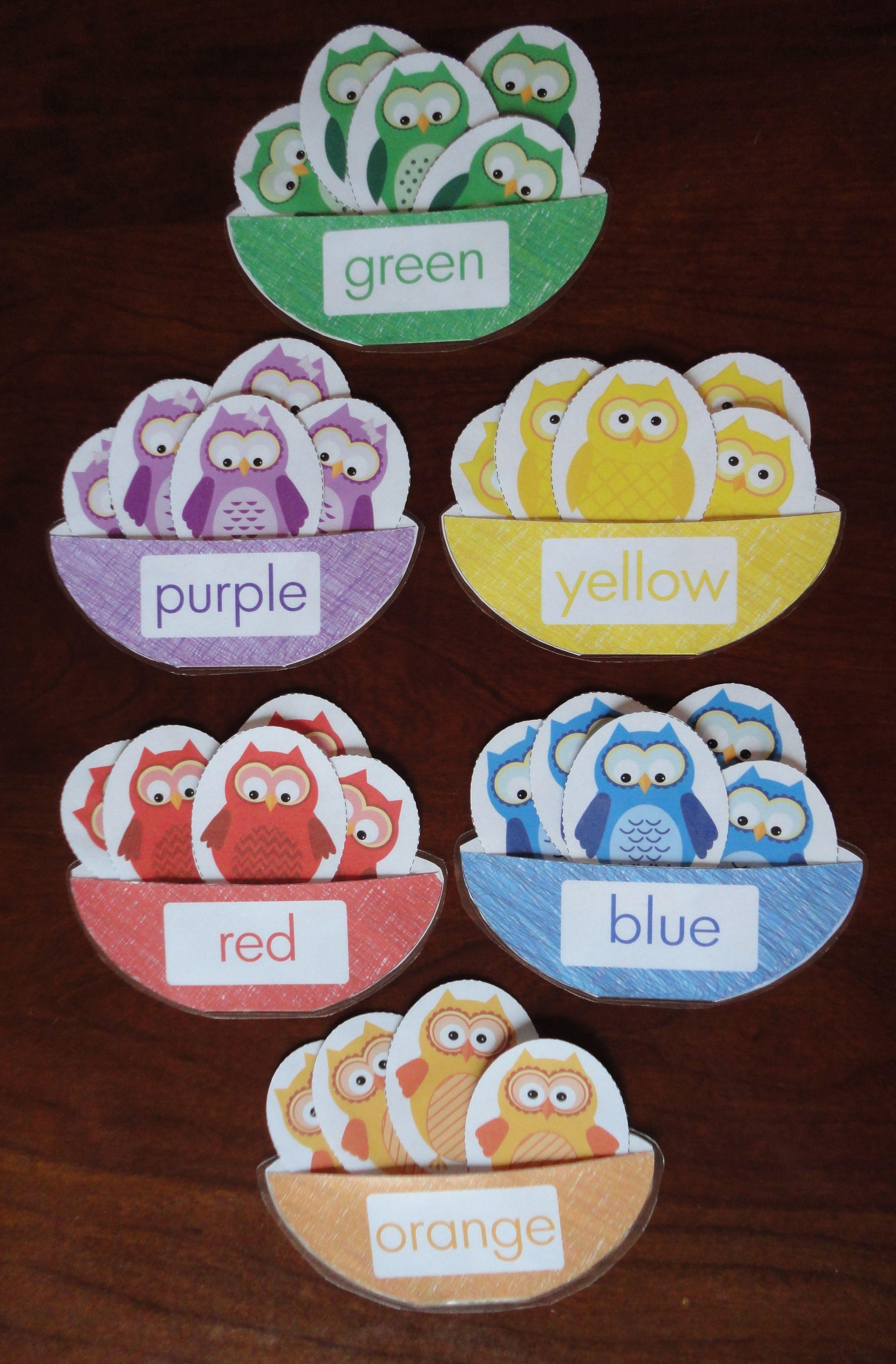 color match size sorting owls preschool themes teaching colors preschool activities. Black Bedroom Furniture Sets. Home Design Ideas