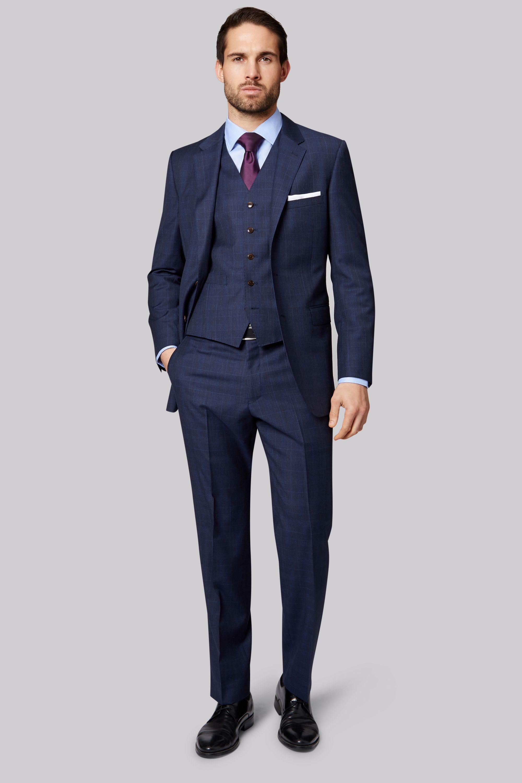 cb384c80e446 Ermenegildo Zegna Cloth Regular Fit Navy Check Jacket 3 Piece Suits, Three Piece  Suit,