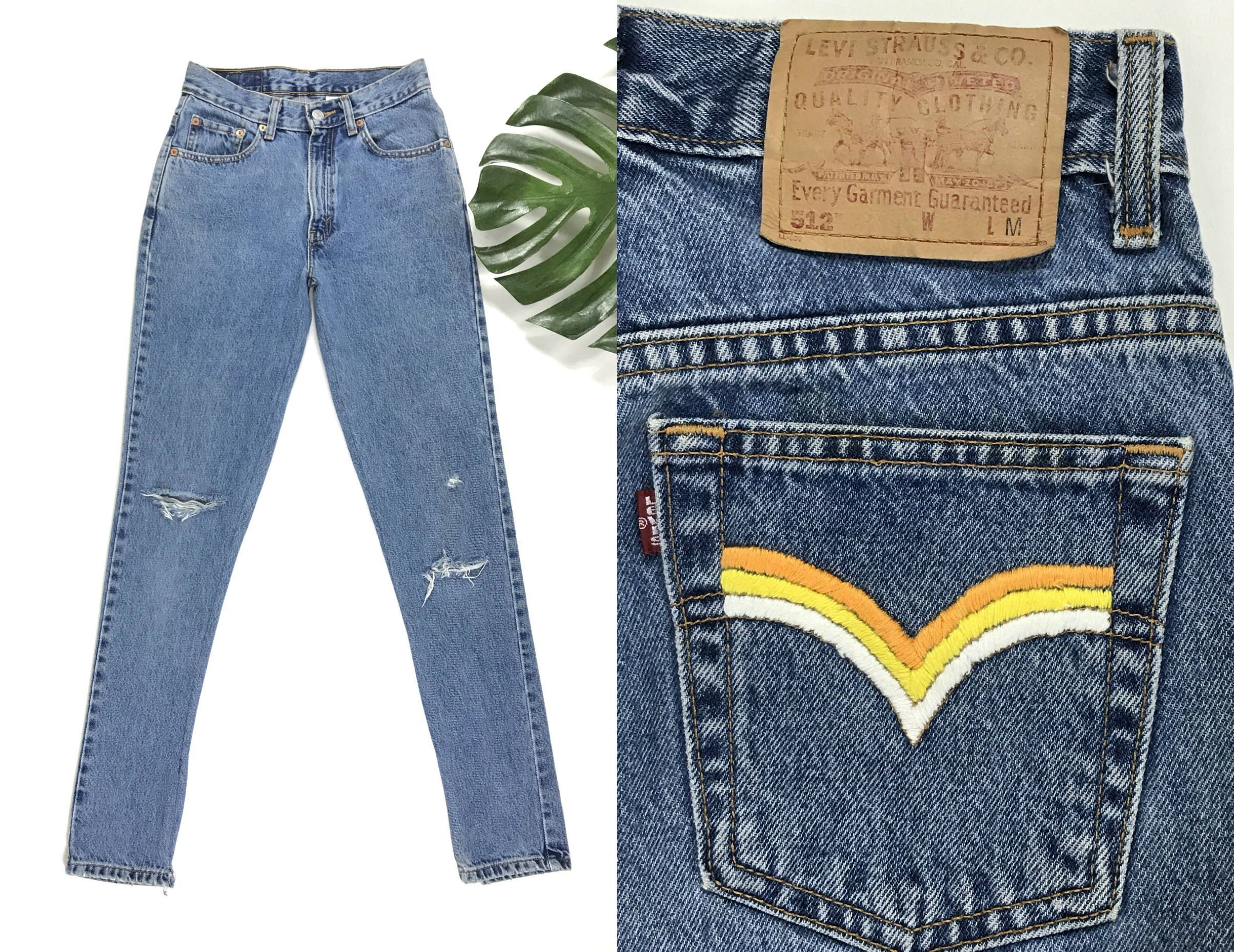 Vintage Levi s rainbow pocket jeans, hand embroidered retro high waisted  mom jeans, 1990s Levis 512, 90s straight leg distressed denim pants by ... 56016c82771