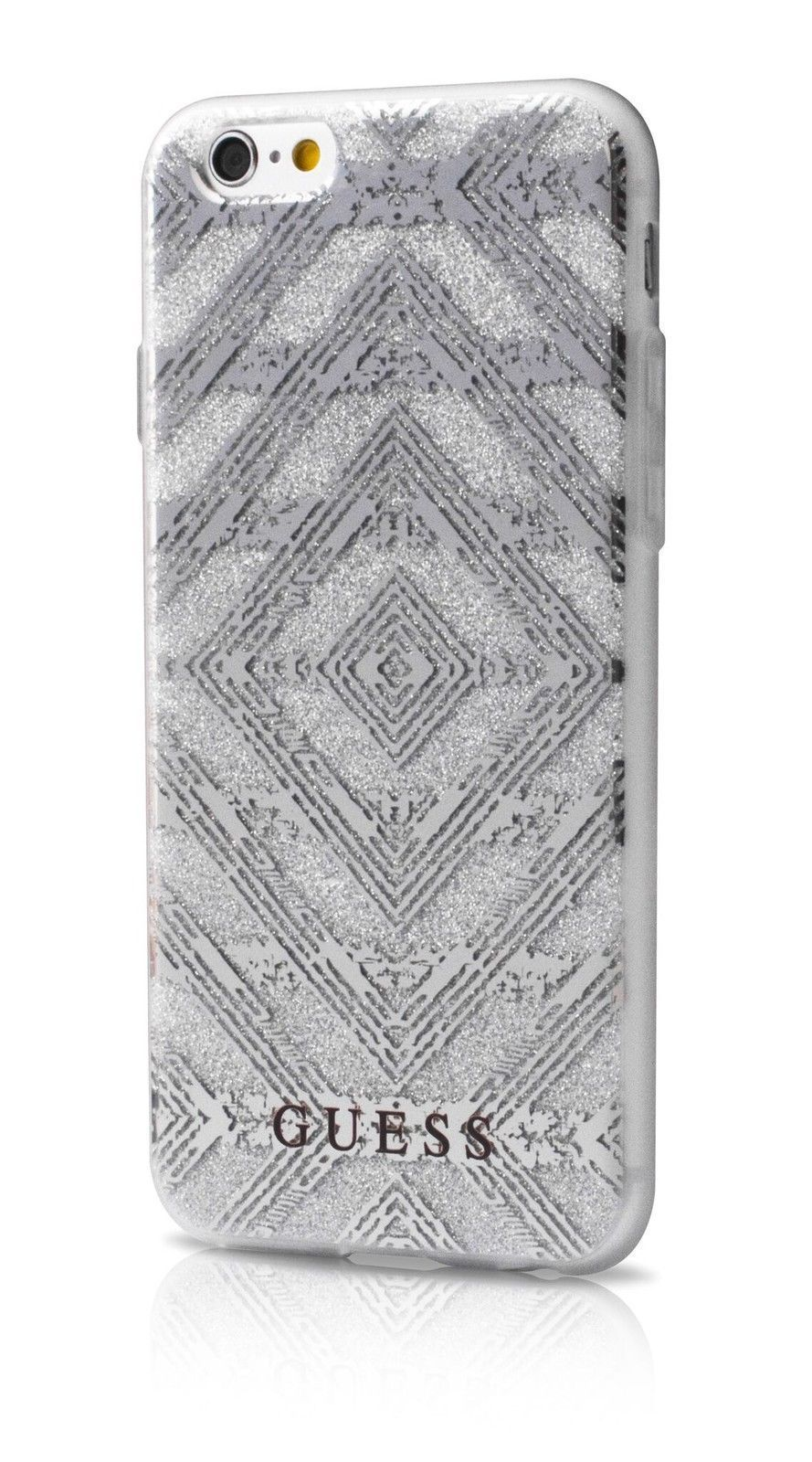 ac3f9ff8360 Guess Aztec Gel Case for iPhone 7 Plus - Silver Sand Glitter Pattern 3D  Effect, Style Stuff we Love