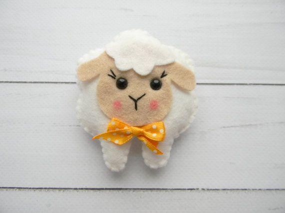 Cute Lamb Easter ornament Felt sheep ornament Felt farm animal  Sheep nursery decor  Easter decoration  Easter ornaments DIY baby mobile
