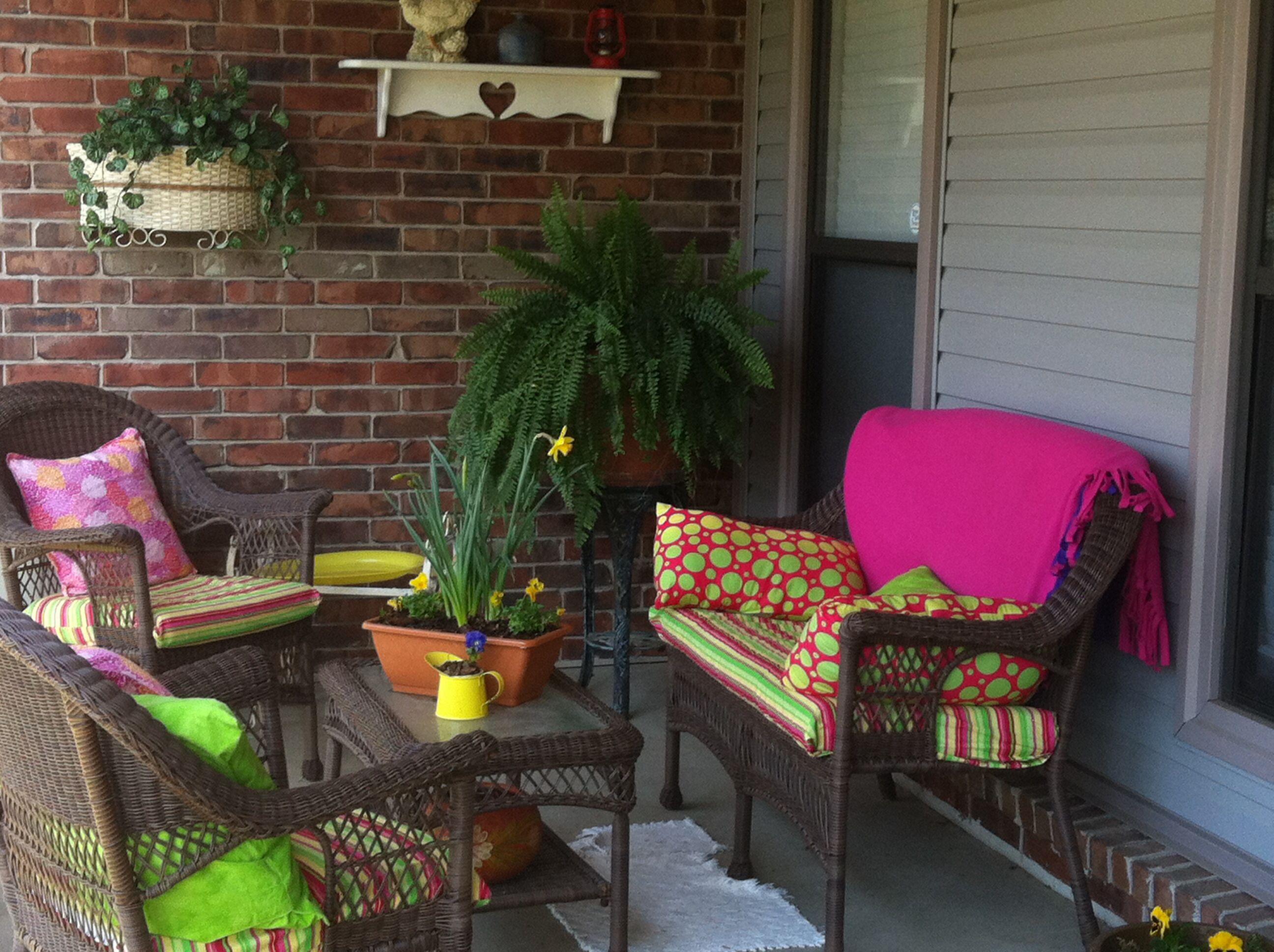 Spring porch flower pots Patio, Porch, Outdoor furniture