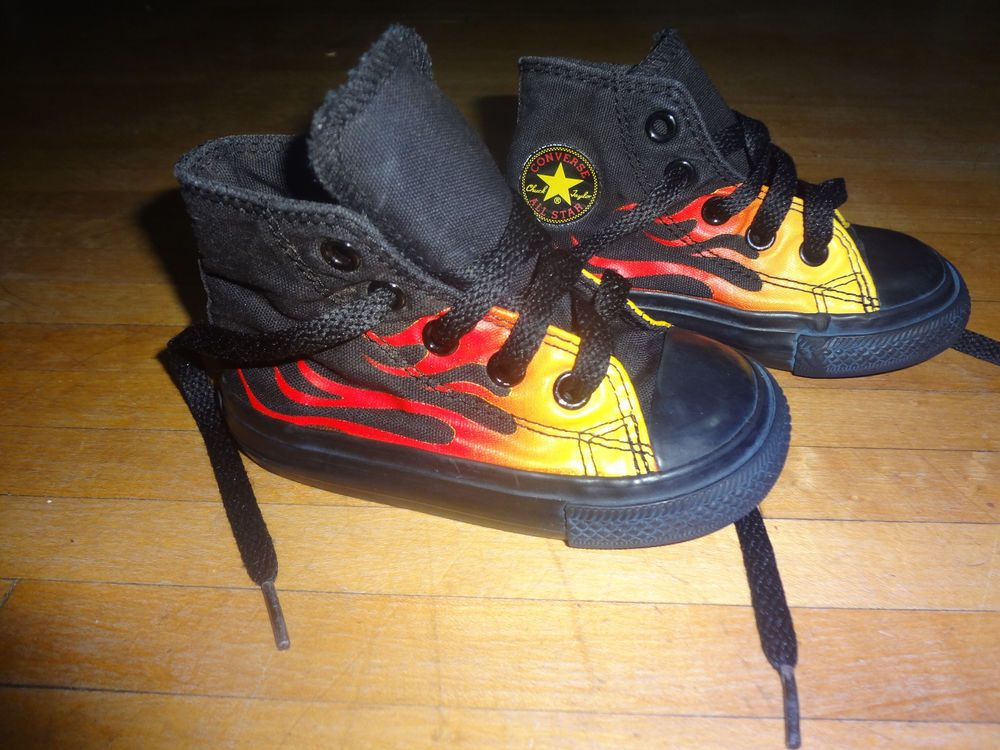 c91cec078930 Chuck Taylor Converse all star black flame high top shoes toddler size 5   fashion