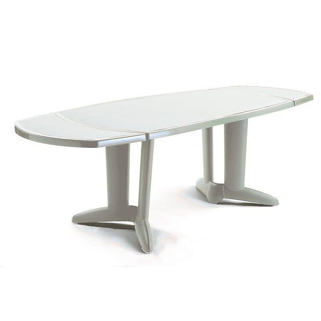 Canasta Table De Jardin Blanche Avec 2 Allonges - 170/240X95Cm