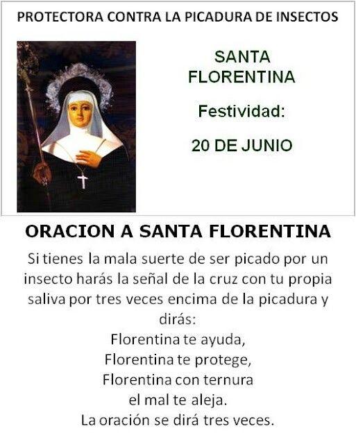 Santa Florentina, protectora contra las picaduras de insectos.