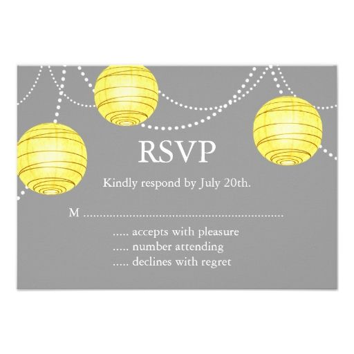 A Yellow and Gray Party Lanterns RSVP Custom Invites