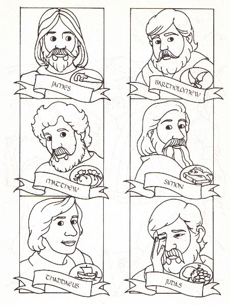 The 12 Disciples Of Jesus Sunday School Coloring Pages Sunday School Kids Bible Coloring Pages