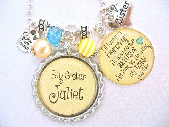 BIG SISTER I'll Love you Forever Personalized Children Name Bottle cap Yellow Necklace, Niece, Cousin,  Kids jewelry